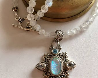 Moonstone Necklace With Moonstone & Blue Topaz Pendant-Bali Silver Pendant