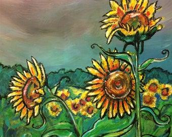 Sunflower Art - Sunflowers - Wall Art - Art Print - Yellow Springs - Leah Reynolds