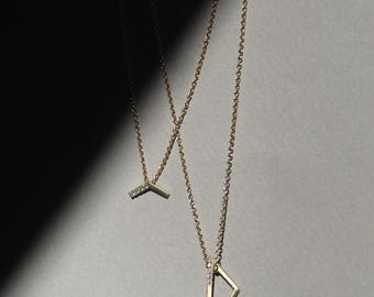 Astrid, pave diamond necklace, 14k gold minimalist necklace, diamond triangle necklace, dainty diamond necklace, triangle diamond pendant