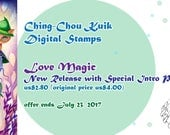 Intro Price- Love Magic - Digital Stamp Instant Download /Witch Kitty Kitten Cat Girl Fairy Fantasy Art by Ching-Chou Kuik