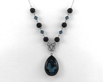 Dark Blue Essential Oil Necklace, Crystal Lava Necklace, Diffuser Jewelry, Lava Bead Jewelry, Aromatherapy Jewelry, Swarovski Crystals