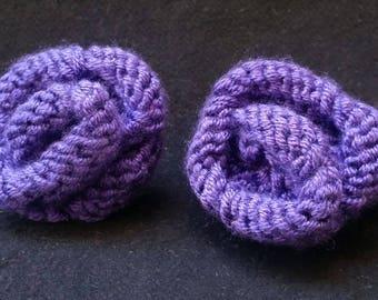 Hand Knit Pair of Purple Rose Hair Ties