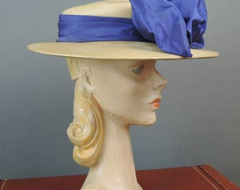 Vintage Straw Hat with Wide Brim and Giant Bow, Helen Joyce Original