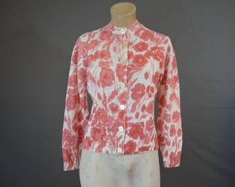 Vintage Floral Sweater, Coral Button Front Cardigan by Greystone - 38-40 Bust