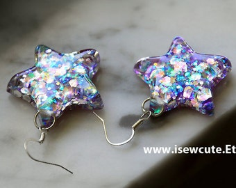 Colorful Iridescent Star Earrings, Catch a Falling Star Earrings, Blue Lilac Silver Star Earrings, Silver Glitter Resin Jewelry by isewcute