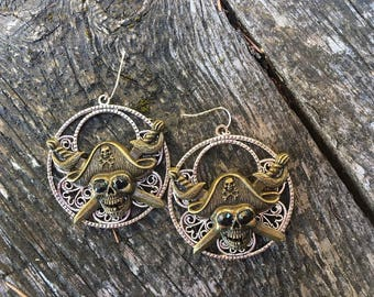 Fantasy Pirate Gothic Filigree Brass Pirate Skull and crossed swords Earrings