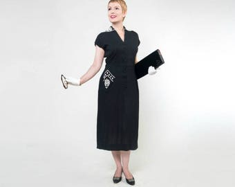 50s Black Linen-like Sheath Dress with White Beaded Details - D.R.A. Original M