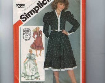 1980s Vintage Sewing Pattern Simplicity 5855 Young Teen Juniors Gunne Sax Prairie Dress Puff Sleeves Size 11/12 Bust 32 1982 80s
