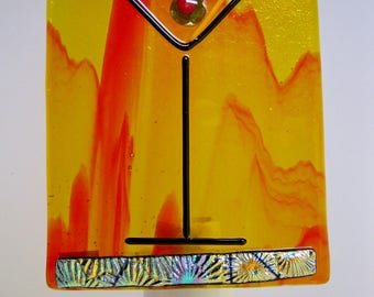 Hand crafted fused glass night light - Cheers Collection, Martini, olive, drink, drunk, drinks, cocktail, vodka, party, bar, blue red green