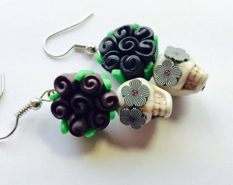 Sugar Skull Earrings Black and White Day of the Dead Roses and Sugar Skulls