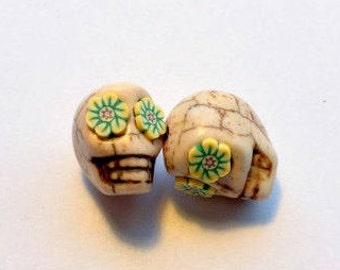 Yellow Flower Eyes in Ivory Day of The Dead Sugar Skull Beads-12mm