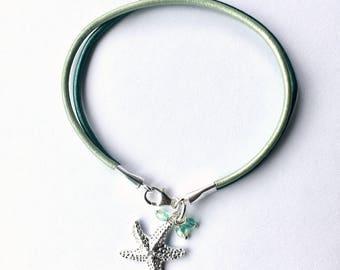 Starfish bracelet Leather and sterling Beach bracelet Summer womens bracelet graduation gift ready to ship
