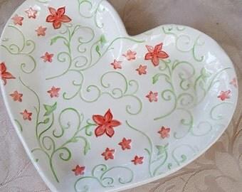 Handmade Ceramic Heart Shaped Serving Dish, Trinket Dish, Snack Tray, candy dish