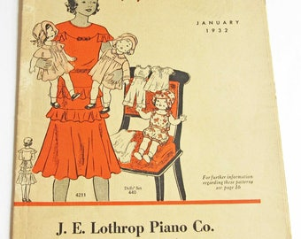 1930's Vintage Pattern Catalog Booklet Butterick Fashion News From January 1932 - ORIGINAL