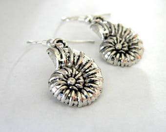 Nautilus Shell Earrings Silver Color Dangle Earrings Spiral Shell Earrings