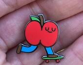 """Skateboarding Apple 1"""" Hard Enamel Lapel Pin"""