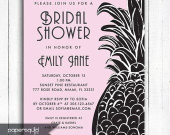 Tropical Pineapple Bridal Shower Invitation, Aloha invitation, Luau Shower, Personalized Tropical invitation, Digital File,  Item 197B