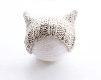 Light brown cat hat, chunky cat hat, chunky baby hat, knit pussyhat, light brown, pussyhat, chunky knit hat, baby hat, newborn hat
