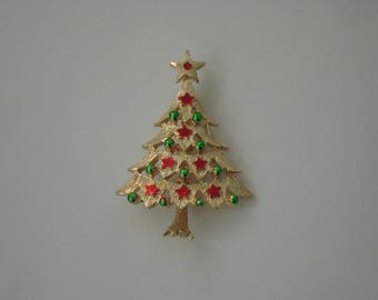 Vintage Gold Tone Christmas Tree Pin Brooch Signed MEESCO