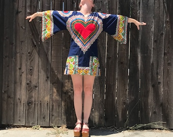 Boho Mini Dress // Dashiki // Angel Sleeve // Bohemian Clothing // Hippie Clothes // Red Heart // Festival Fashion // Summer of Lov