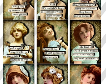 PMS/Menopause Ladies Digital Collage Sheet 2.5 X 3.5 ATC Sized Images (Sheet no. FS294) Instant Download