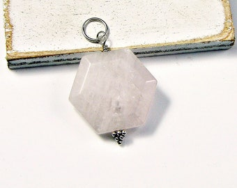 Rose Quartz Pendant Wire Wrapped in Sterling Silver; Geometric Pendant; workplace Jewelry; Birthday Anniversary gift for her Reward Yourself