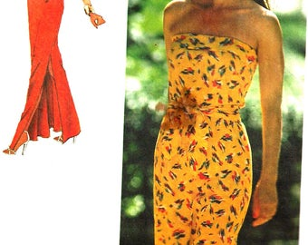 1980s Dress Pattern Strapless Stretch Knit Jiffy Simplicity Vintage Uncut Sewing Women's Misses Size 14 Bust 36 Inches