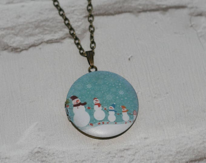 Snowman Locket Necklace, Christmas Necklace, Woodland Jewelry, Christmas Locket