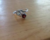 Red Garnet and White Topaz Double Bypass Ring Sterling Silver Size 7 Red and White Real Gemstones Solitaire Two Stone Ring