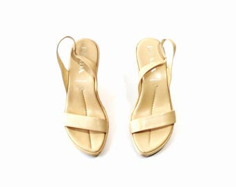 1990s Prada Beige Leather Mules Wedges Platforms