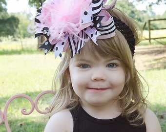 OTT Black and Pink Big Bow Headband,Over the Top Bows Pink and Black,Birthday Girl Hair Bows,Cake Smash Headbands,Over the Top Bows Pink