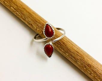 Sterling Silver Red Jasper Adjustable Ring
