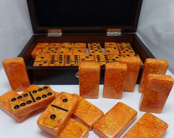 Dominoes 'Surface of the Sun' Hand Painted 28 Piece Deluxe Professional Size Double Six Domino Set in veneer case, alcohol inks, orange
