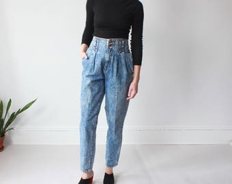 high waisted acid wash jeans | tapered 80s jeans, small