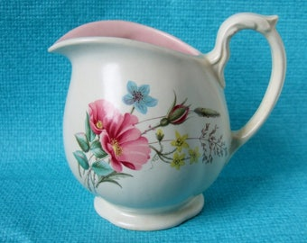 1950s Pretty Floral Milk Jug - Vintage Axe Vale Pottery Jug with Pink and Blue Flowers and Pink Interior