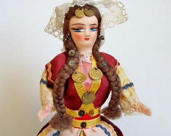 Vintage Greek Doll - Souvenir Doll in Traditional Costume from Greece or the Balkans with Wonderful Painted Face