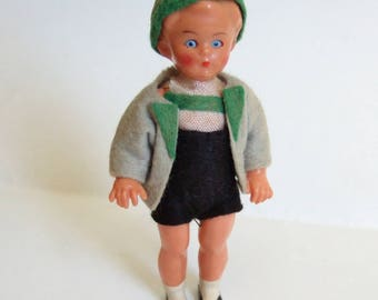 Tyrolean Boy in Shorts and Hat - Very Blue Eyed Little Vintage Doll in Alpine Costume - Souvenir Doll
