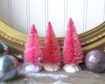 3 hot pink bottle brush trees bottlebrush tree vintage style 4 inch putz village cottage farmhouse - Hot Pink Christmas Tree