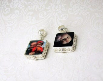 Sterling Framed Photo Charm Jewelry - XSM