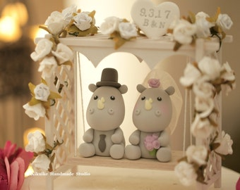 rhinoceros ,rhino Wedding Cake Topper