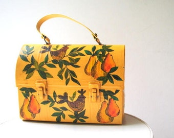 Sweet vintage 70s,  yellow , hand painted  , metal  tool box, lunch box, storage box, street bag with a pears, birds, leaves design. Jo-Ann.