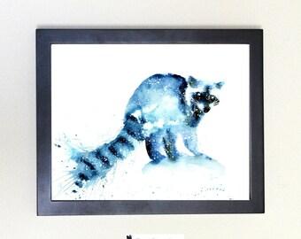 Raccoon Spirit Animal Art Print Watercolor 8x10