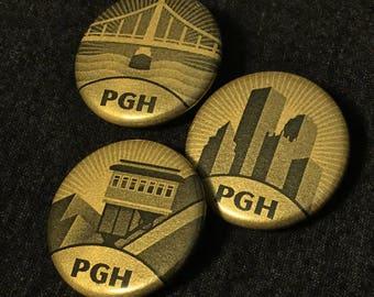 "Set of 3 1.25"" Pittsburgh PGH Buttons - Skyline, Incline, Bridge - Golden Metallic Pinback"