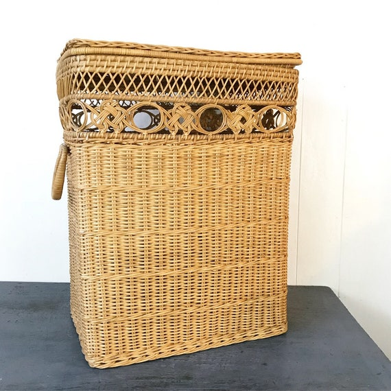 wicker laundry hamper - large tall lidded basket with handles - bamboo home storage - tall boho planter