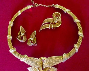 Marcell Boucher Gold Mid Century Necklace and Earrings Brooch Set Signed