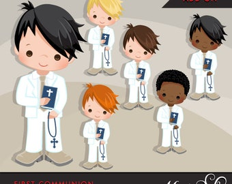 First Communion Clipart for Boys Add On. Cute Communion characters, graphics, white clothing. Bible, rosary, religious, African american
