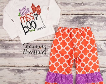 NEW Fall Halloween Outfit, Baby Toddler Girl Clothes, Top Ruffle Pants Set, Little Miss Boo Charming Necessities Orange Purple