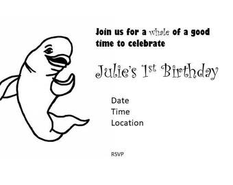 Baby Beluga Inviation, First Birthday Invitation, Beluga Whale Party Invitation, 5x7 Printable