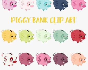Piggy bank money saver clipart, cash savings bank, saving money dollars, 20 piggybank colors, smiling pig money bank, digital png (LC32)