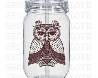 Owl Design Instant Download for Electronic Cutters Silhouette Cricut vinyl digital decal hippie boho Feathers tshirt heat transfer